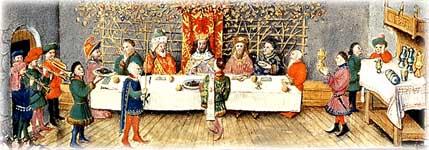Banchetto a corte con suonatori e servitori, 1446-1449 circa. Torino, Palazzo Madama