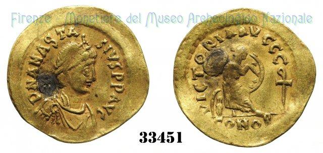 VICTORIAAVCCC Chi-Rho rovesciato 491-498AD (Costantinopoli)