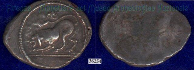 Leone/Senza tipo (HN Italy, 111) 499-400BC (Pupluna)