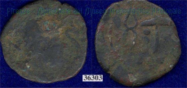 Testa di Sethlans/tenaglie e mart. (HN Italy 195) 400BC (Pupluna)