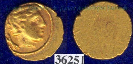 Testa maschile a d. / senza tipo (HN Italy 136) 400BC (Pupluna)