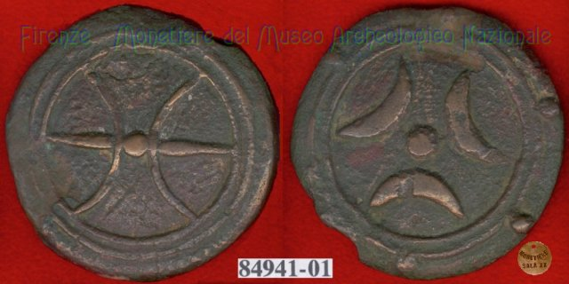 Ruota arcaica / 3 crescenti (HN Italy 64b) 299-200BC (Etruria Sett. Interna)