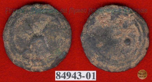 Ruota arcaica / 3 crescenti (HN Italy 64e) 299-200BC (Etruria Sett. Interna)