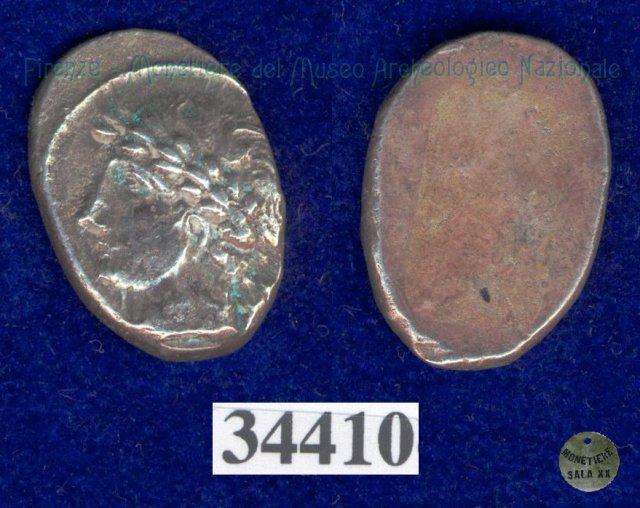 Testa di Aplu / senza tipo (HN Italy 168) 400BC (Pupluna)