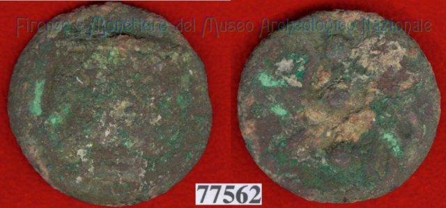 Testa di Culsans / segno di valore (HN Italy 108e) 299-200BC (Velathri)