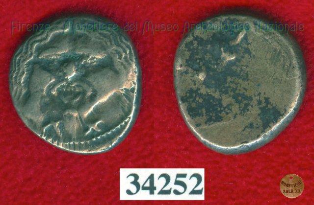 Testa di Metus / lettere (HN Italy 142) 400BC (Pupluna)