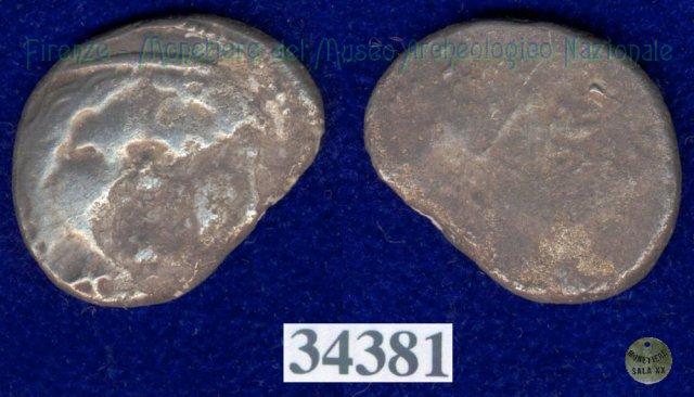 Testa di Metus / linee incrociate (HN Italy 151) 400BC (Pupluna)
